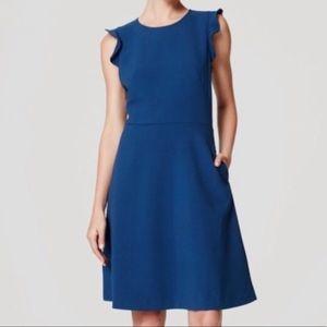 Ann Taylor Loft Teal Flutter sleeve dress